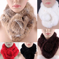 Wholesale Women s Lady Rabbit Fur Collar Neck Wrap Girl Scarf Shawl Men Scarves K018