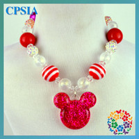 Wholesale Chunky Necklace Red Mini mouse Kids Necklace rainbow dash baby Chunky Bead Neckalce DHL free