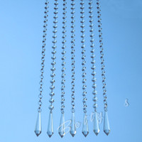 Wholesale 50M Clear Acrylic Crystal Faceted Octagon Beaded Strands Garland Chains With Prism Drop Pendant Wedding Tree Vase Chandelier Trimming