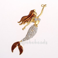 Wholesale High Quality Beautiful Jewelry Crystal Mermaid Pendants MP