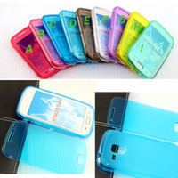 Wholesale Skin Galaxy Duos - fashion touch screen transparent flip TPU button case cover skin shell for Galaxy S Duos S7562 touch screen flip TPU case cover