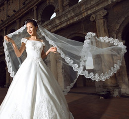 Wholesale New White amp Ivory Long One Layer Bridal Veil Cathedral Length Tulle Lace Applique Edges Wedding Veil