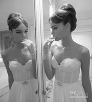 Wholesale Inbal Dror Beach Summer Sweetheart A line Wedding Dresses Tulle Lace Appliques Strapless Crystals Beaded Gowns