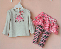 baby bird clothing - 2014 Spring Fall Baby s Girls Clothes Long Sleeve Bird Embroidery T Shirt Tutu Skirt Pants Toddler Girls Set Babies Suit QZ390