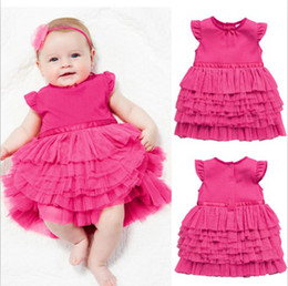 Retail Toddler Baby Girls Lace Tiered Princess Tutu Dress Children Rose Short Sleeve Skirt Kid's Christmas New Year Party Wedding Clothing