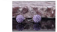Wholesale Mix color MM Colorful Shamballa Earrings Stainless Steel Studs Clay Material With Crystals Stud Earrings