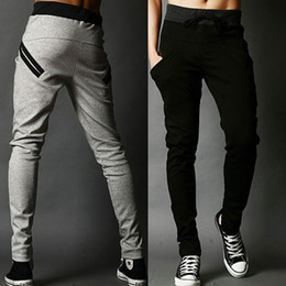 Wholesale S5Q Mens Harem Trousers Skinny Pants Legging Straight Fit Sports Sweat Pants AAACUL