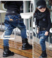 jeans - 2014 New Arrival Spring Children Jeans Embroider Washing Water Quality Kids Boys Girls Denim Harem Jeans Casual Pants Child Trousers QZ378