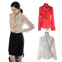 Wholesale S5Q Lady s Ruffle Front High Neck Polka Dot Print Chiffon Shirt AAACTI