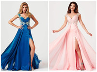 Reference Images V-Neck Chiffon Party Time Formals 2014 Prom Dresses Evening Gown With Peacock Chiffon V-Neck Capped Side-slit Appliques Sequins Beads Floor-Length Sku P016