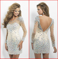 ap pictures - New Short Prom Dresses Jewel Sheer Long Sleeve Mini Sheath Column Open Back Gowns So Charming Bling Beaded Crystals Cocktail Dress AP