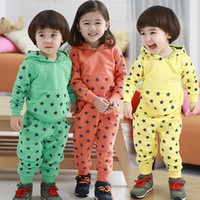 kids sweat suits - New Fashion Unisex Baby Kids Stars Cotton Blended Outfit Outwear Sportswear Leisure Suit Sport Suit Sweat Suit For Spring Autumn Winter