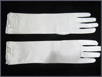 Full Finger best inexpensive - 2014 Best Selling Bowknot Full Finger Satin Below Elbow Length Full Finger Bridal Gloves High Qulity Inexpensive Simple Style Graceful