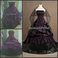 Wholesale 2014 Ball Gown Actual Modern Purple and black Strapless lace up Embroidery Gothic Ruffles Wedding Dresses wedding gowns free wrap