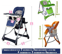 Wholesale Baby Folding Chair For Feeding Dark Blue Orange Red Green Wheels Aluminum Alloy Chair Adjustable Baby Dining Chair