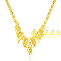 Wholesale Korean wedding necklace fade eventually becoming real gold plated necklace gold plated genuine gold plated jewelry necklace shakin