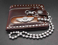 Wallets angels credit card - Men s Punk Rock Biker Angel wing Leather Zipper Wallet with Waist Chain Brwon color