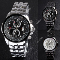 Wholesale S5Q Luxury Sport Stainless Steel Date Quartz Analog Black Dial Mens Wrist Watch AAACSZ