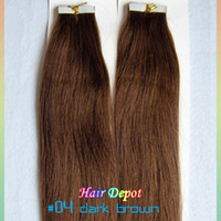 Wholesale quot Remy Tape Hair Extensions Human dark brown g silky soft Straight Skin Weft Hair Extensions Superb free ChinaPost