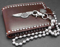 Wholesale New Mens and Boys Punk Rocker Biker beautiful Leather Wallet Free Wallet Chains