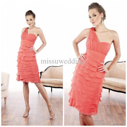 Wholesale Best selling Water melon One shoulder Sheath Knee length Chiffon Layers Mother of the bride dresses Sexy Celebrity Cocktail Party dress