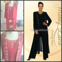 Wholesale 2014 elegent chiffon mother of the bride pant suits beaded collar long sleeve crew Mother of the Bride Dresses evening dresses