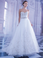 Wholesale Embroideried A line Wedding Dresses Demetrios Tulle Skirt with Sweetheart Backless Bridal Gown
