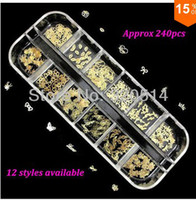 Nail Art 3D Decoration Nail Art Sticker  240pcsNew 2013 Gold Shiny Nail Art Sticker Decoration Thin Mixed Design Acrylic Tips Metal Slice With Case Free Shipping