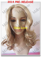Wholesale half half mix color open face design synthetic lace front wig heat resistant spiral blonde mix color wig