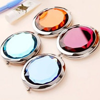 Wholesale Super allured crystal style foldable women COSMETICS MIRROR MAKEUP Mirrors Mixed color fashion portable charm mirrors novel chic mirror