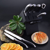 Metal set Black Freeshipping 8Pcs Stainless Steel Knife Set Kitchen Cutlery W Wooden Block, Knives+Kitchen Scissors+ Sharpener, FDA LFGB Certified(KSPS1008)