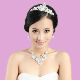 Wholesale Artificial pearl diamond bridal jewelry sets bridal jewellery wedding jewelry set wedding jewellery crystal bride crown necklace earrings