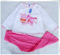 Wholesale Peppa Pig Pyjamas Baby Girls Long Sleeve Cotton Piece Set m y Children s Pajamas suit pants amp t shirts night sleepwear homewear