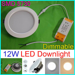 Dimmable 12W LED Panel Lights SMD5730 Recessed led Ceiling Light Lamps AC 110-240V Warm Cool White + Power Supply Ceiling Down Lights