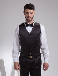 Wholesale Noble Black Satin Buttons V Neck Tailored Wedding Groom Vest r98 u14 Q4