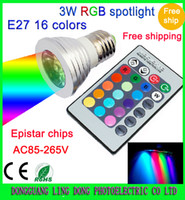 Wholesale 16 Color Changing LED spotlights W W RGB led Light Bulb Lamp E27 GU10 E14 MR16 GU5 B22 with Remote Control V amp V Min Order