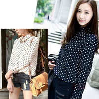 Women chiffon Polo Hot s XXL White Navy Women Shirt Polka Dots Chiffon Vintage Blouse Long Sleeve