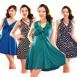 Wholesale Plus size plus size swimwear one piece dress female swimsuit hot spring swimwear