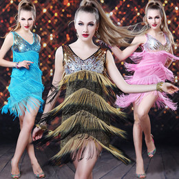 Wholesale Actual Pictures New Arrival Sexy V Neck Sequined Tassel Detailing Fashion Stage Wear Latin Dresses