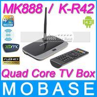 Wholesale MK888 K R42 CS918 Android TV Box RK3188 Quad Core Mini PC RJ USB WiFi XBMC Smart TV Media Player with Remote Controller
