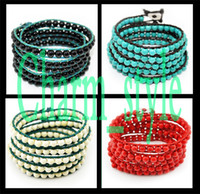 Wholesale 5 off Five circle beaded turquoise bracelets Charm bracelet Cheap bracelet color optional FZ