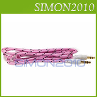 Wholesale 3 mm Audio AUX Car Extention Cable Braided Woven wire Stereo Jack Male m ft Colorful Cords for Cell Phone Speaker MP3