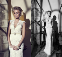 Wholesale Gothic Vintage Coutom Made Sheath Lace V Neck Beaded Church Backless Wedding Ball Gown Sheer Bridal Dresses Long Sleeves Dress Crystal