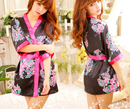 Sexy women lady silk sleepwear underwear lingerie uniform role play kimono cosplay pajamas nighty night-robe bathrobe with belt gifts
