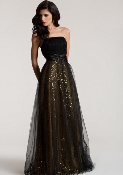2016 Cheap Long Black And Gold Sequin Formal Evening Gowns ...