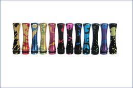 Wholesale Metal Long aluminum drip tips with paint splatter and splashed for e cigarette EGO Vivi Nova CE4 CE5 CE6 DCT EE2 clearomizer