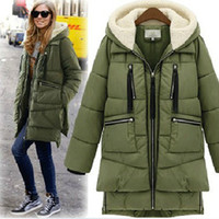 Wholesale European and American big winter new large size women long sleeve hooded military dress women Down Coats