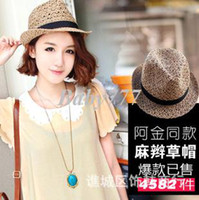 Wholesale Small pepper hat female summer new Korean hollow breathable hemp straw hat jazz hat factory