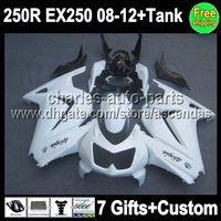 7gifts+ Tank For Kawasaki ALL White Ninja 250R EX250 08- 12 EX...