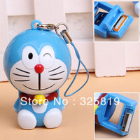 Wholesale Free shiping Fashion Doraemon Shaped USB TF Micro SD Memory Card Reader with Key